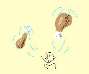 Throwing chicken wings