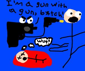 Gun shooting another gun