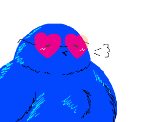blue bigbird with heart glasses
