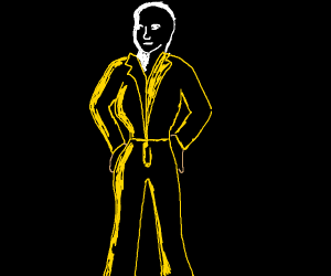 curvy person with yellow suit and white face