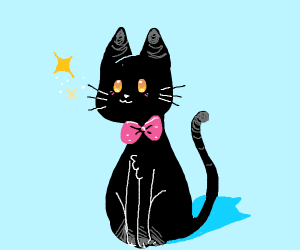 picture of a black cat with a pink bow