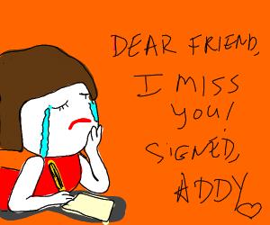A brunette tween named Addy misses her friend