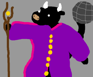 Wizard cow with microphone tail