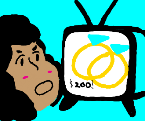 Woman interested in a wedding ring on a TV