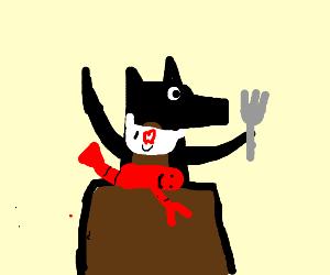 A dog making lobster