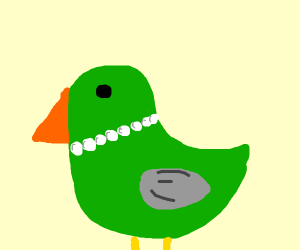 green duck with grey wings and pearl necklace