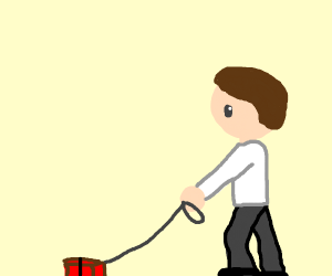A man walking his pet brick