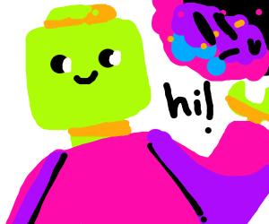 green lego man says hello to asteroid