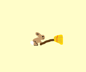 Bunny with broom