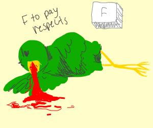 Evil green bird vomits blood