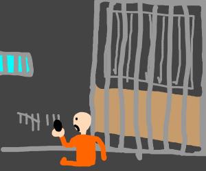 Sad prisoner counts number of days in prison