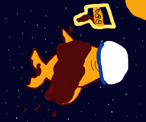 Flaying Space Goldfish Covered in BBQ Sauce