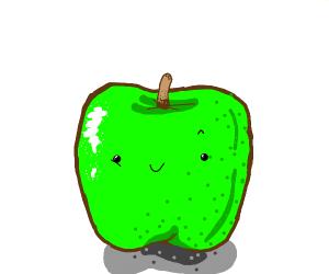 a cute living green apple