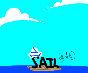 A sail on a raft in the big blue sea