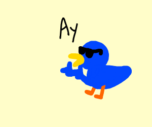 Blue duck saying Ay