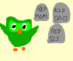 Duolingo owl shows you your family's graves.