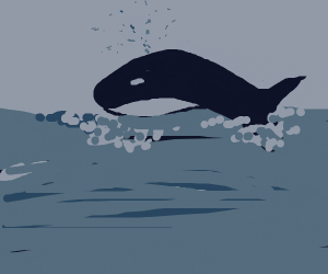 Whale jumping out of the water