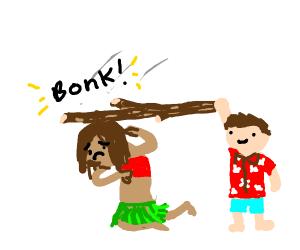 Hitting a hula dancer with a stick