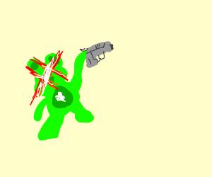 A green care bear on a cloud, with a gun
