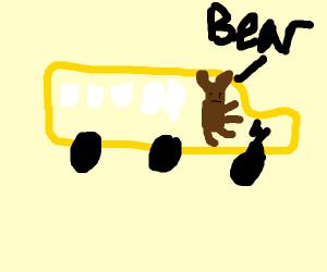 Bear driving a bus