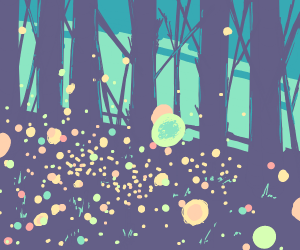 fireflies in a lovely forest