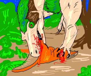 Dinosaur eats dinosaur