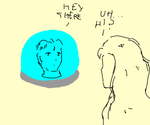 Girl talking to disembodied head