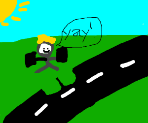 blond boi robbing a road while saying yay