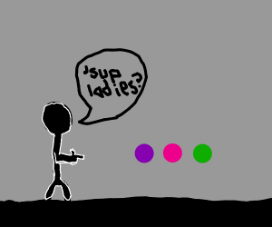 stickman asking with all the colours next to