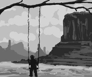 Boy on a Swing... in the middle of a desert