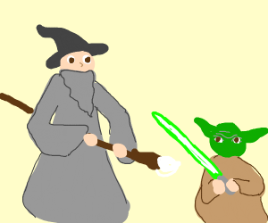 Gandalf fights Yoda