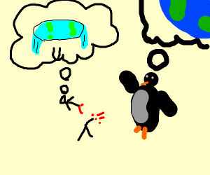 flat earther being mauled by penguins