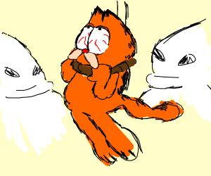 Garfield being hung