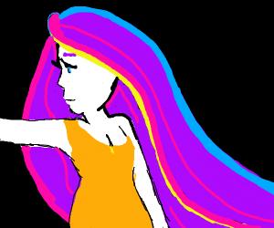 girl with purple hair in orange dress