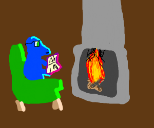Blue dragon reading a book next to fireplace