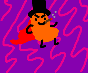 Jelly bean smoking a twig, wearing a cape+hat