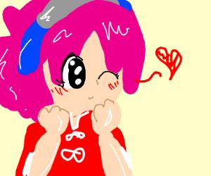 anime girl winks