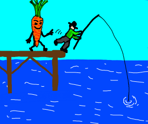 A giant carrot pushing a fishermanIntoThePond
