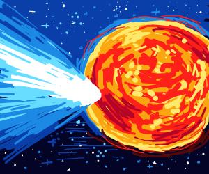 comet flies into the sun