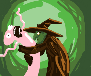 Witch hugs weird thing