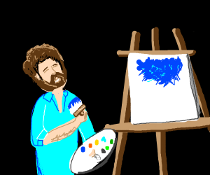 Bob Ross with a paint brush