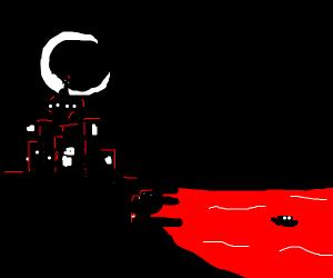Moon scene near red sea