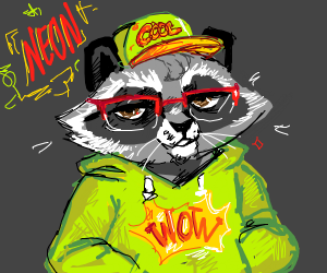 edgy raccoon thinks neon clothes are cool