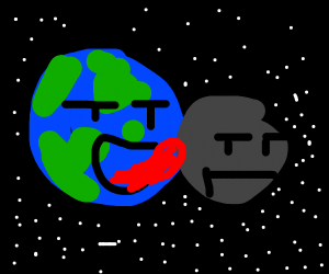 the earth licking the moon