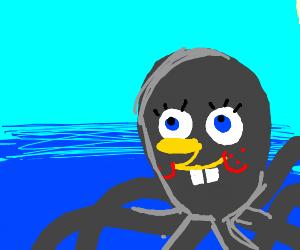 SpongeBob's face on an octopus