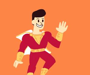Captain Marvel in an orange void