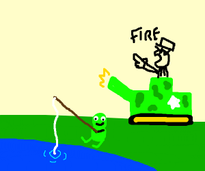 Frog fishing whilst a war is happening