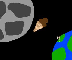 Someone threw chocolate ice cream at the moon