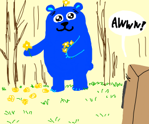 bear! but don't worry,he's just pickingflowrs