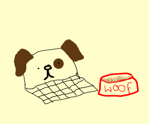 Laptop dog ready to eat